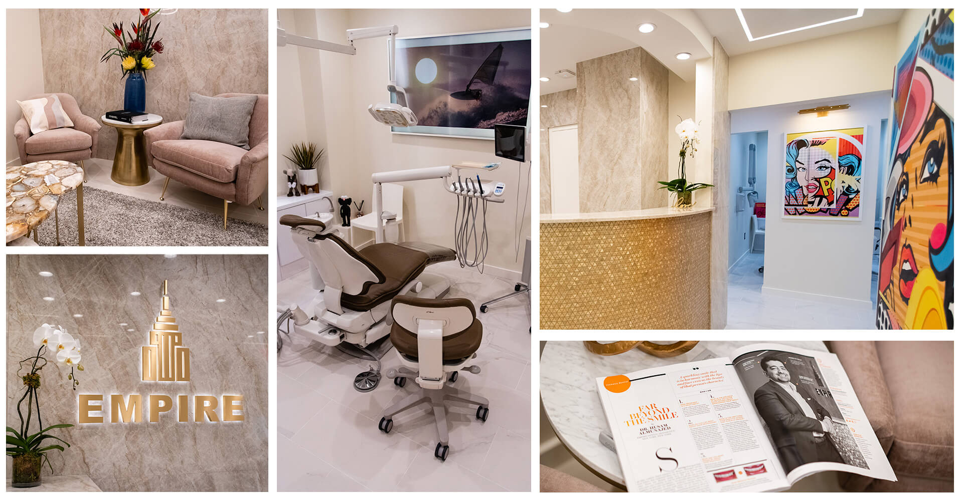 A collage of the Empire Dental Aesthetics dental office
