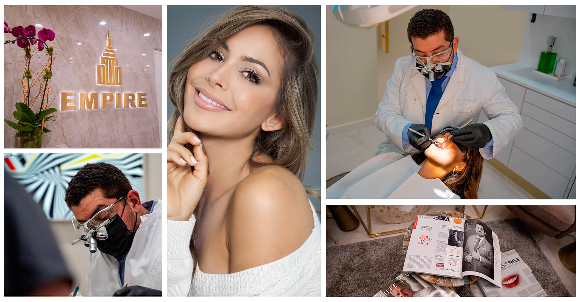 A collage of the different ornaments of our dental office and Dr. Husam working with his patients